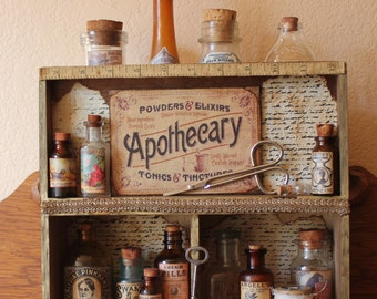 The Apothecary Cabinet- Found Object Assemblage