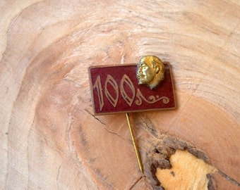 Lenin pin, 100 years birthday anniversary, Soviet vintage pin, USSR badge, Grandfather gift, Russian Collectibles, souvenir, communist pin