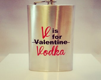 v is for vodka flask perfect for a birthday gift valentines party or just - Valentines Vodka