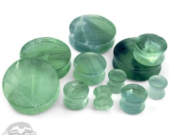 """Green Fluorite Stone Plugs - (0 Gauge - 1 & 1/4"""" inch) Sold In Pairs"""