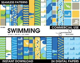 Swimming Scrapbook Paper || Pool Digital Paper || Summer Scrapbook || Swim Theme || Blue, Yellow, Green, Teal || Commercial Use || DP16013