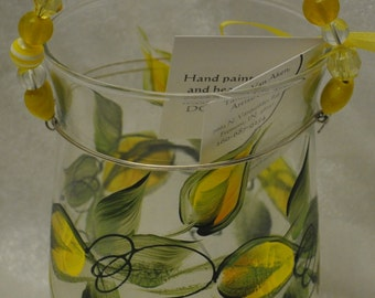 Yellow rosebuds hand painted candle holder
