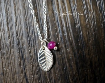 Sterling Silver Ruby Necklace - Tiny Leaf Necklace Dainty Ruby Choker - Ruby Jewelry - July Birthstone - Gift For Her Ruby Pendant
