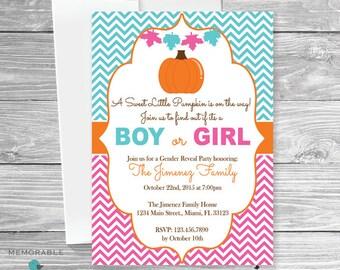 Pumpkin Gender Reveal Invitation Pumpkin Gender Reveal