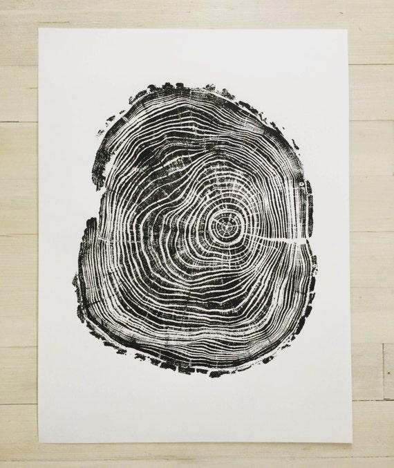 Tree Trunk Art, Black Locust Tree, Real tree stump, tree ring art print, Woodcut print, Thanksgiving art, holiday art, Christmas art