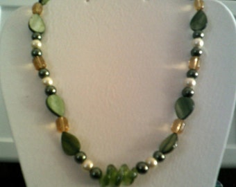 Mother of Pearl and Czech Crystal Beaded Necklace