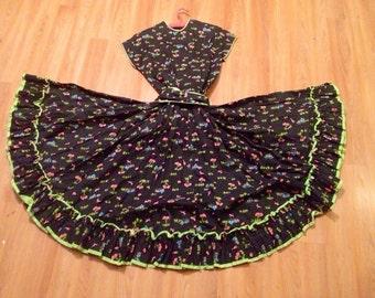 Swing Dress 1950's Vintage Cotton size 4 / 6