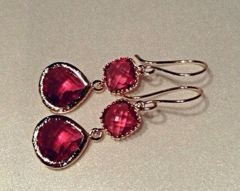 Ruby Red and Gold Earrings / Raspberry and Gold Drop Earrings / Hot Pink Fuschia Dangle Earrings
