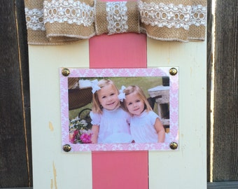 Children's Large Bow Table Top Frame with Burlap Ribbon