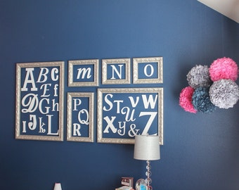 Wooden Alphabet Letters, Nursery Decor, Wooden Alphabet Wall Decor Nursery Wall Art, Painted Wooden Letters Wall Hanging Letters for Nursery