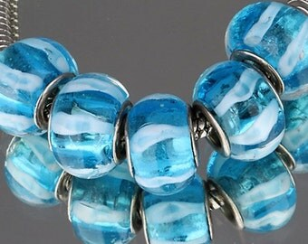 1x Murano Bead - Clear Blue And White Stripe- Lampwork Glass - Large Hole - Fits European Bracelet and Necklace - A20