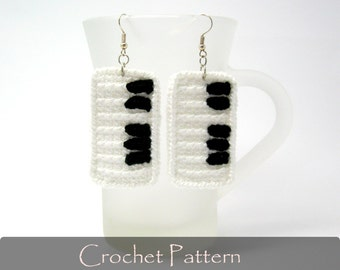 CROCHET PATTERN - Piano Crochet Pattern Piano Keys Crochet Earrings Tutorial Piano Jewelry Crochet Pattern - P0021