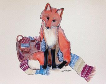 cozy fox winter Print 8x10