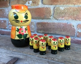 Cat and Kittens Russian Babushka Matryoshka Nesting Dolls