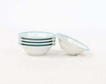 Vintage 1950's Walker China White + Aqua Blue Stripe Restaurant Ware Side Dish Round Bowls Set of 5