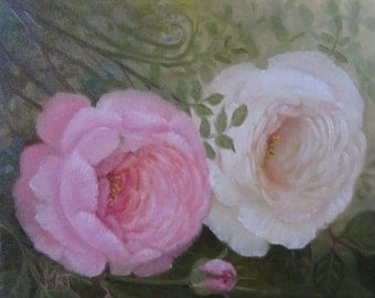 Two Roses, 8x10, Original Oil Painting
