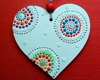 Single white/silver/multicoloured Heart hanging decoration. Hand painted and sequin embellished by Artichicks.