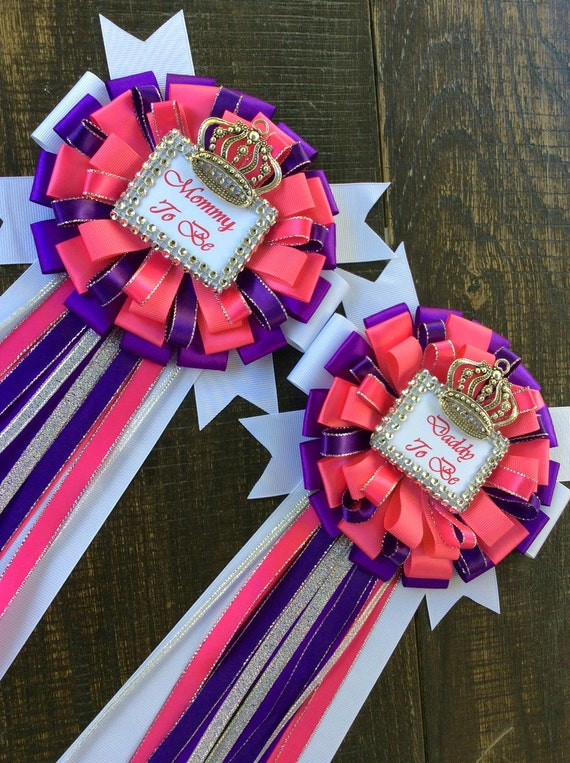 Items Similar To Purple And Pink Baby Shower Mommy To Be Pin And Daddy To  Be Pin Royal Purple Baby Shower  Royal Princess Baby Shower Purple And  Silver On ...