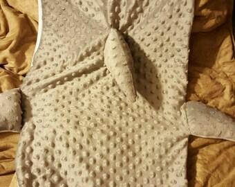 Minky and fleece shark blanket