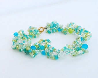 Sea glass freeform beadwork bracelet