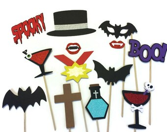 Halloween Photo Booth Props - 13 Piece Photo Booth Prop Set - Dracula Photo Booth- Halloween Photo Booth with Glitter- Vampire