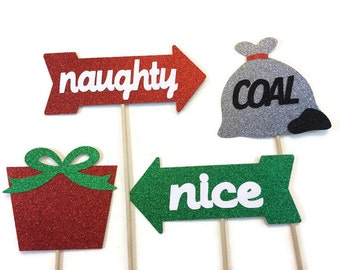 Christmas Photo Booth Props- 4 Piece Set- Holiday Photo Booth with Glitter - Naughty or Nice  Photo Booth Prop Set