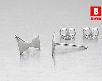 925 Sterling Silver Earrings, Knot Earrings, Brushed Earrings, Stud Earrings (Code : K09A)