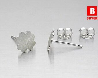 925 Sterling Silver Earrings, Leaf earrings, Brushed Earrings, Stud Earrings (Code : K09E)