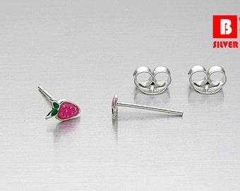 925 Sterling Silver Earrings, Strawberry Earrings, Stud Earrings (Code : K27B)
