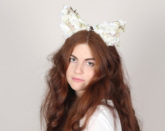White Petal Cat Ears, White Floral Cat Headdress, White Animal Ears