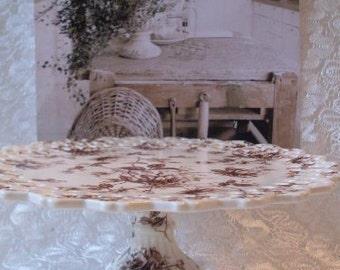 Primitive Folkart Brown Toile Transferware cake stand  Thewarehouseshelf We Ship Internationally
