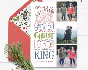 Custom Religious Christmas Card - Come Let Us Adore Him - Custom Christmas Card - Printed Christmas Card - Photo Christmas Card -Hand Letter