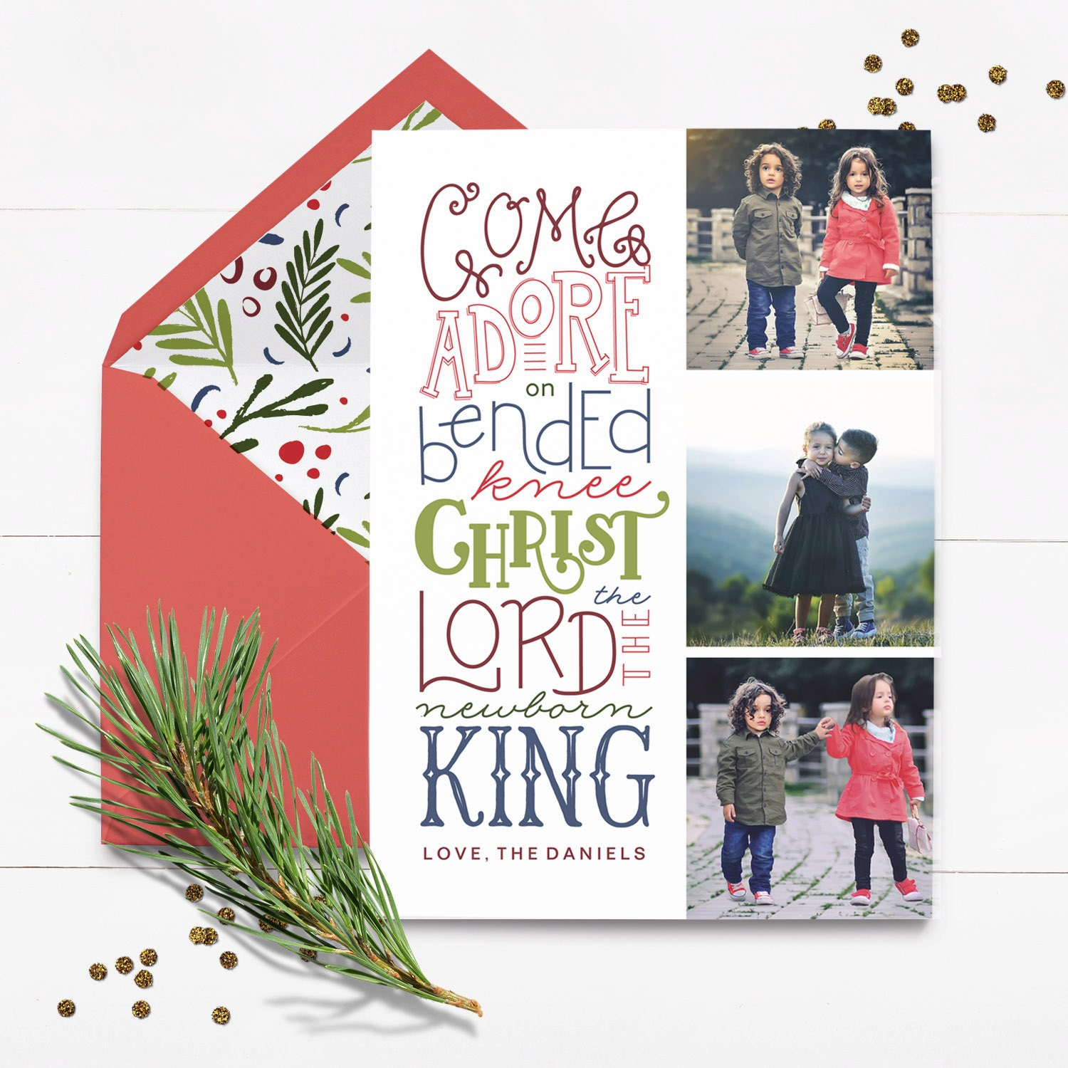 Custom Religious Christmas Card Come Let Us Adore Him