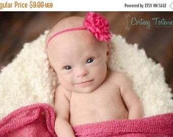 ON SALE Petite Amelia Hot Pink Flower Headband, Newborn Photo Prop, Baby Headband, Simple Headband, Newborn Headband, Flower Headband