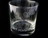 Fan Art Inspired Get Schwifty Design Custom Etched Whiskey Rocks Glass Rick and Morty