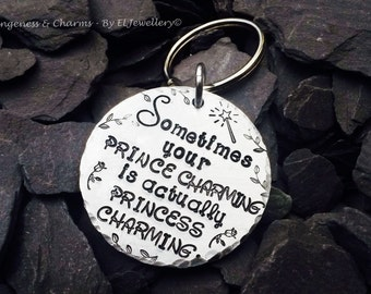 hand stamped prince charming princess charming aluminium disc keyring stamped metal jewellery