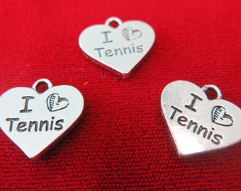 "BULK! 15pc ""I love tennis"" charms in antique silver style (BC227B)"