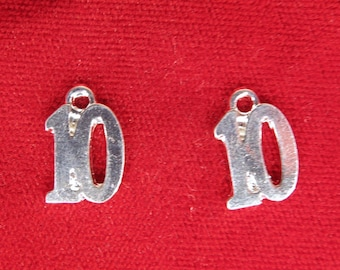 "10pc ""number 10"" charms in silver style (BC268)"