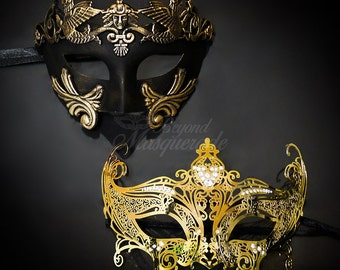 New! Couples Masquerade Masks, His & Hers Masquerade Masks - Bestselling Gold Roman Mask and Laser Cut Masquerade Mask with Diamonds
