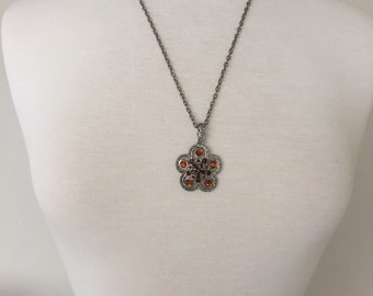 amber rhinestone necklace
