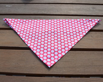 Handmade Dark Pink/Red Slip-on-Dog Bandana, Dog Bandana, Polka-dot Bandana, Spotty Dog Bandana, Dog Accessories, Dog Fashion