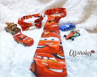 Handmade Disney Cars Lightning McQueen Tie / Disney Cars Lightning McQueen Bow tie /  Cars Cake Smash / Photo prop. Made in USA