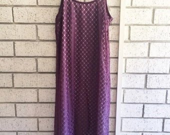 vintage • checker dress w/ lilac underlay