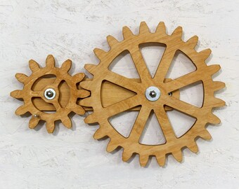 Gentil Mechanical Wall Art. Kinetic Wall Art Decor. Rotating Wooden Gears Wall  Decor Sculpture.