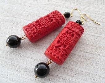 Red cinnabar earrings, black onyx earrings, dangle earrings, oriental jewellery, gemstone jewelry, agate jewelry, gioielli, gift for her