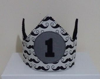 Moustache 1st Birthday crown, felt crown, Felt Birthday crown,  Birthday cake smash crown, moustache cake smash outfit