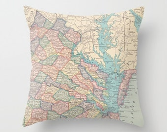 Virginia and Washington DC Map Pillow - world map, travel decor, pastels, wanderlust,  Vintage Maps, unique, colorful