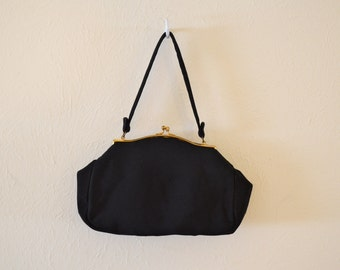 Vintage Frilo 1950s Black Evening Bag with Coin Purse and Mirror