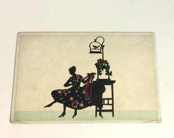 Silhouette Art Postcard - Woman in Colorful Floral Dress Playing Musical Instrument with Birdcage - Frameable Vintage Antique Ephemera