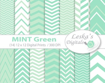 "Mint Digital Paper:""MINT"" Mint green chevron digital paper - Chevron digital scrapbook paper - Mint Green Chevron Patterned paper"